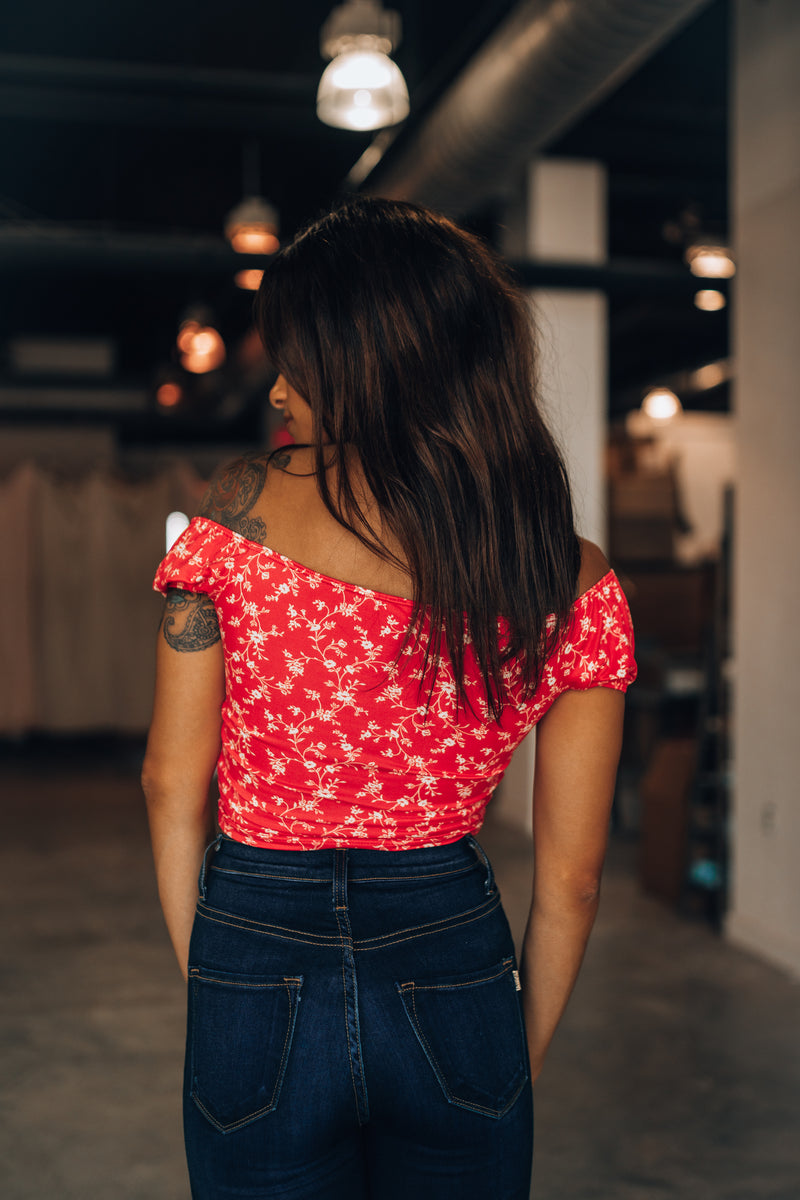 Angelica Cinch Floral Top (Red) - FINAL SALE