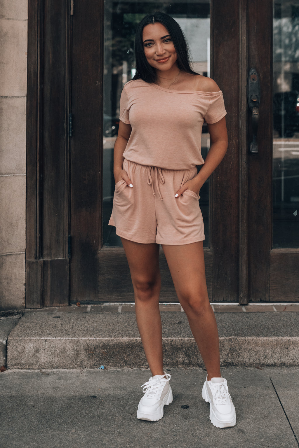 Lounge Off Shoulder Romper (Nude)