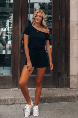 Lounge Off Shoulder Romper (Black)
