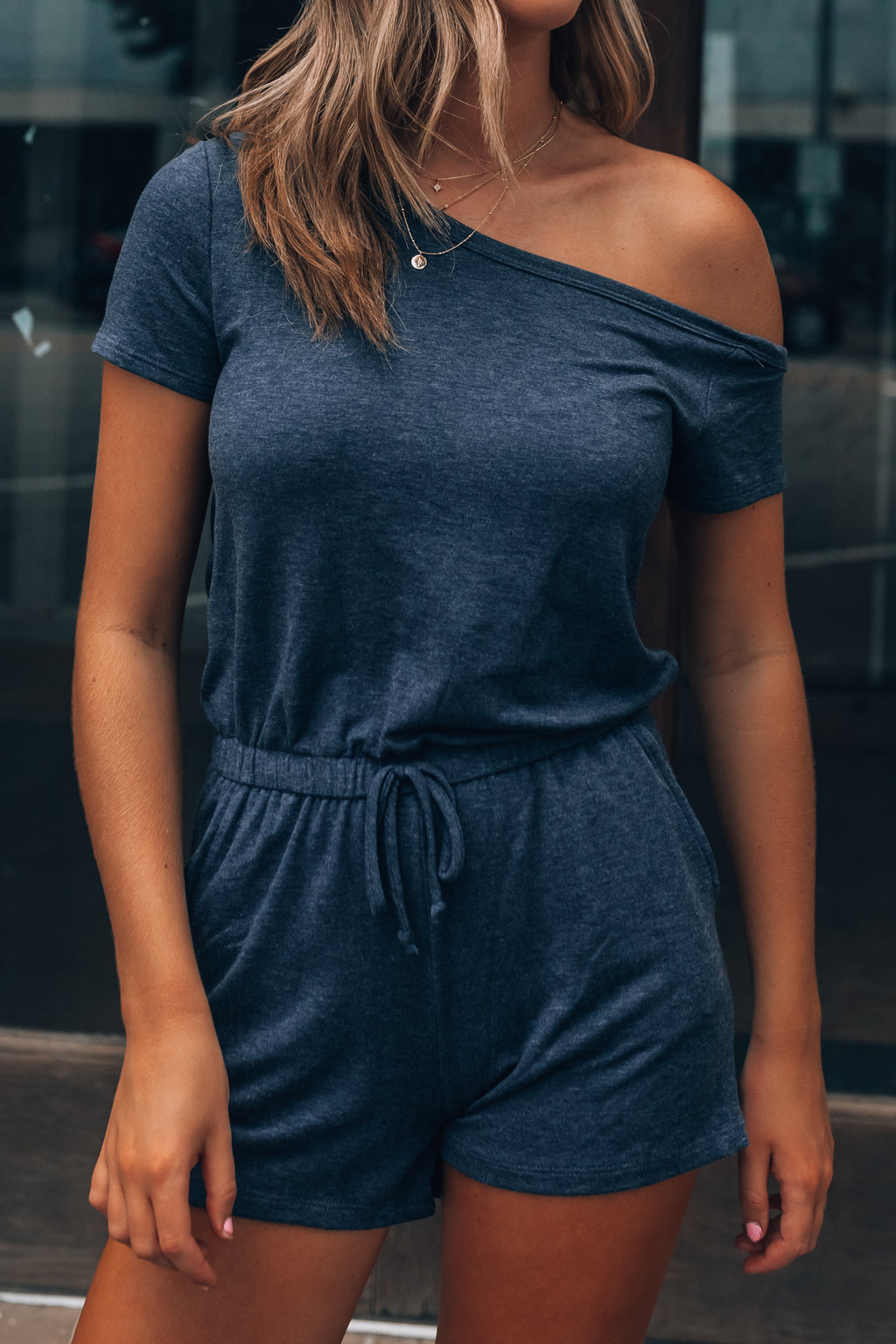 Lounge Off Shoulder Romper (Navy)