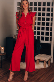Heart Breaker Ruffle Jumpsuit (Red)