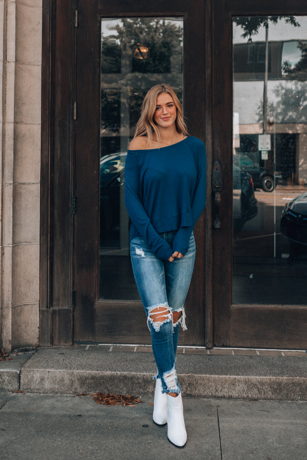 Stella Knit Long Sleeve Top (Navy)