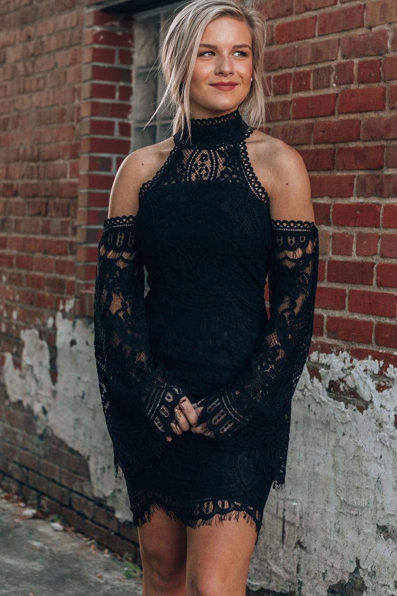 Audrey Lace Mini Dress (Black)