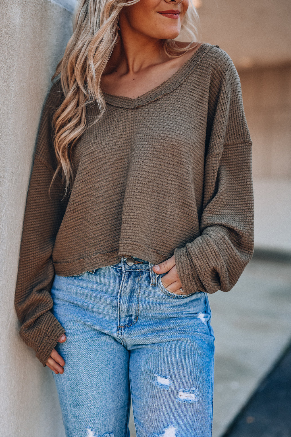 Marley Waffle Knit Top (Olive)