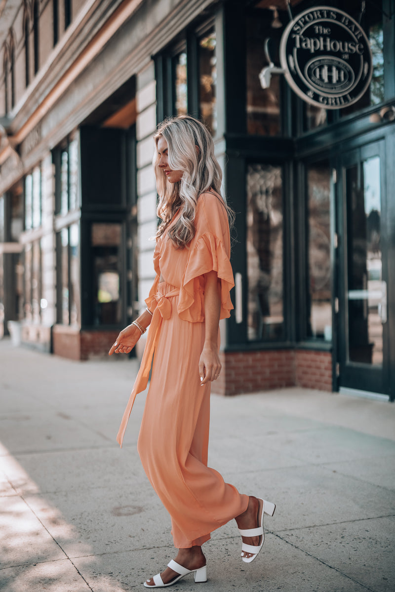 Mimosa Tie Jumpsuit(Coral)