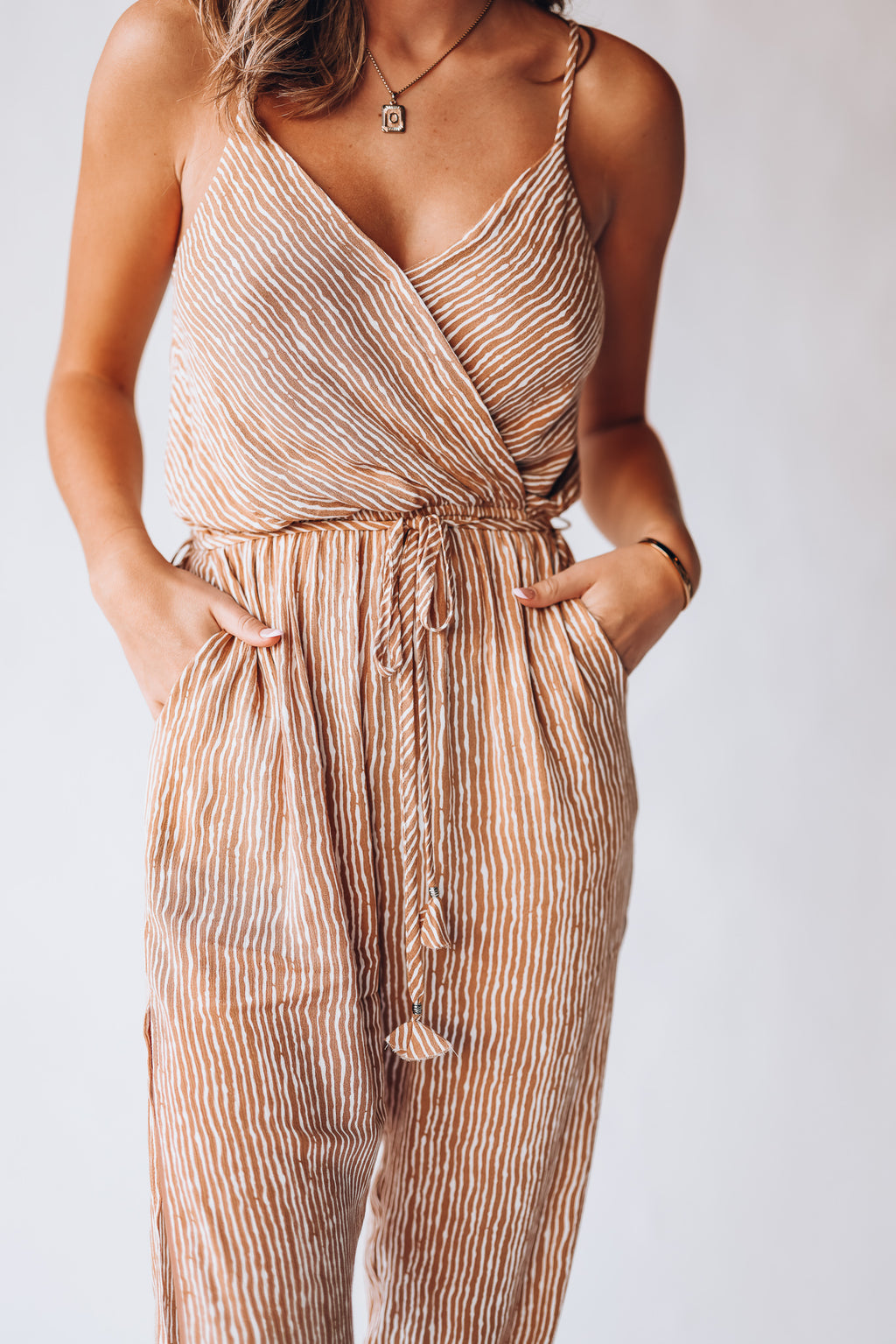 Lauren Striped Jumpsuit (Rust)