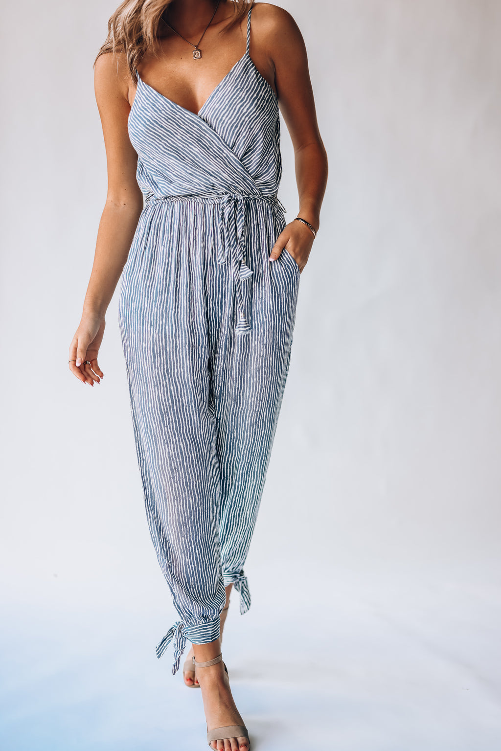Lauren Striped Jumpsuit (Navy)