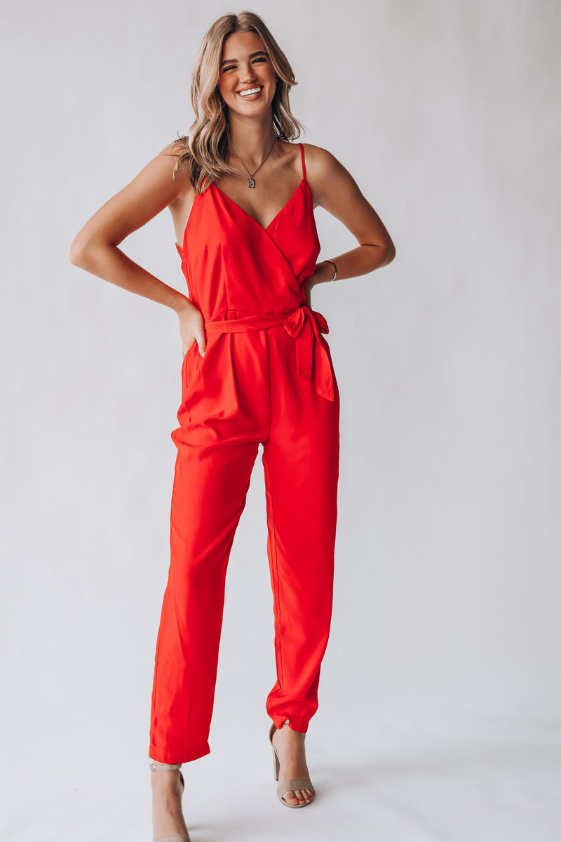 Blake Lace Jumpsuit (Red)