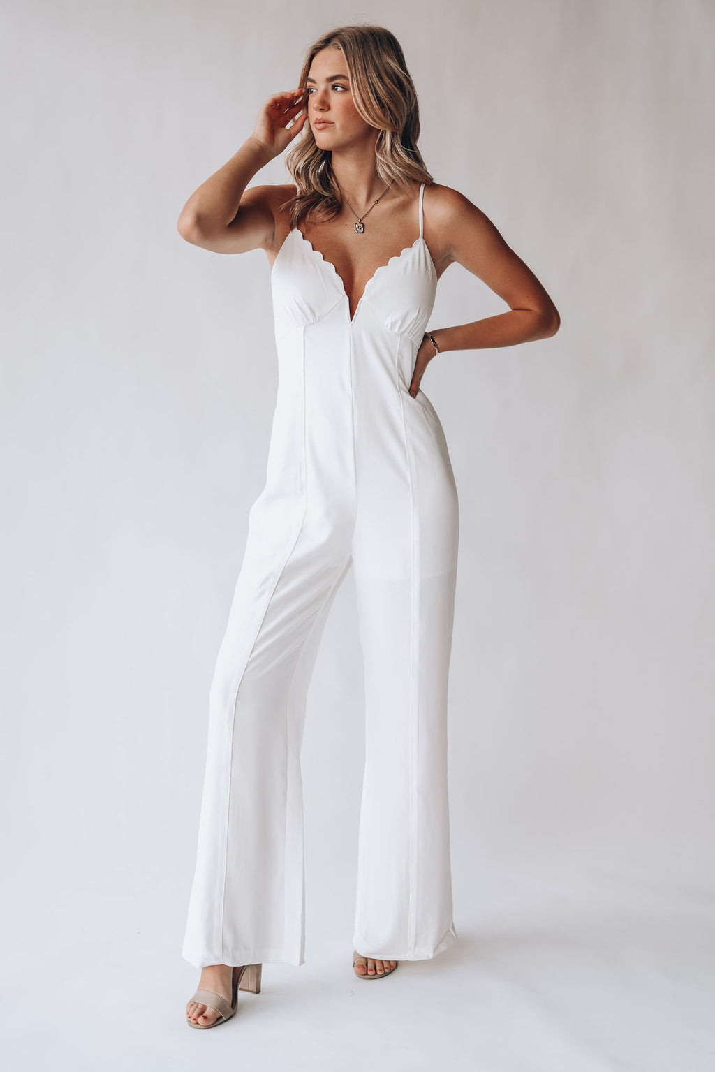 Carissa Scallop Jumpsuit (White)