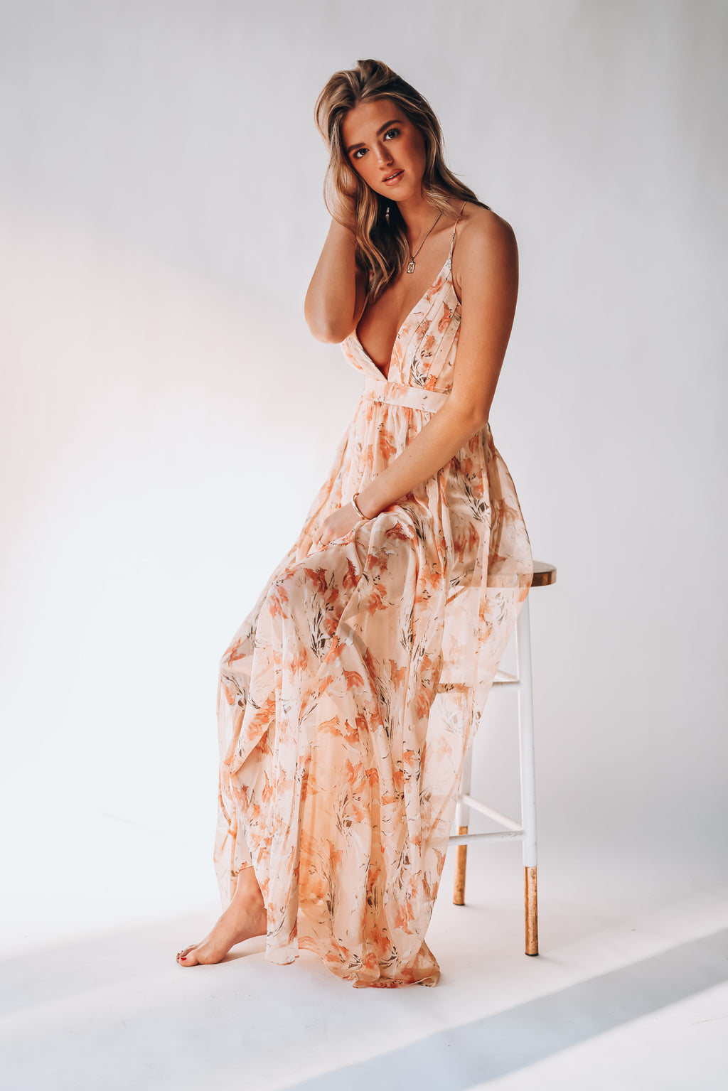 A Piece Of Me Floral Maxi Dress (Peach)