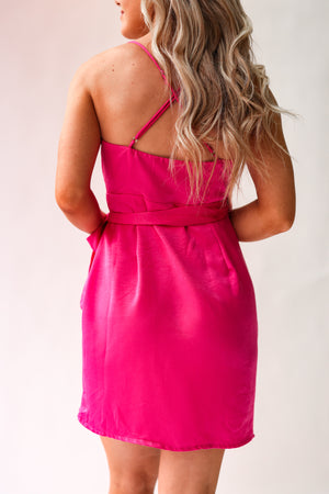 Sweet On You Satin Wrap Dress (Hot Pink)