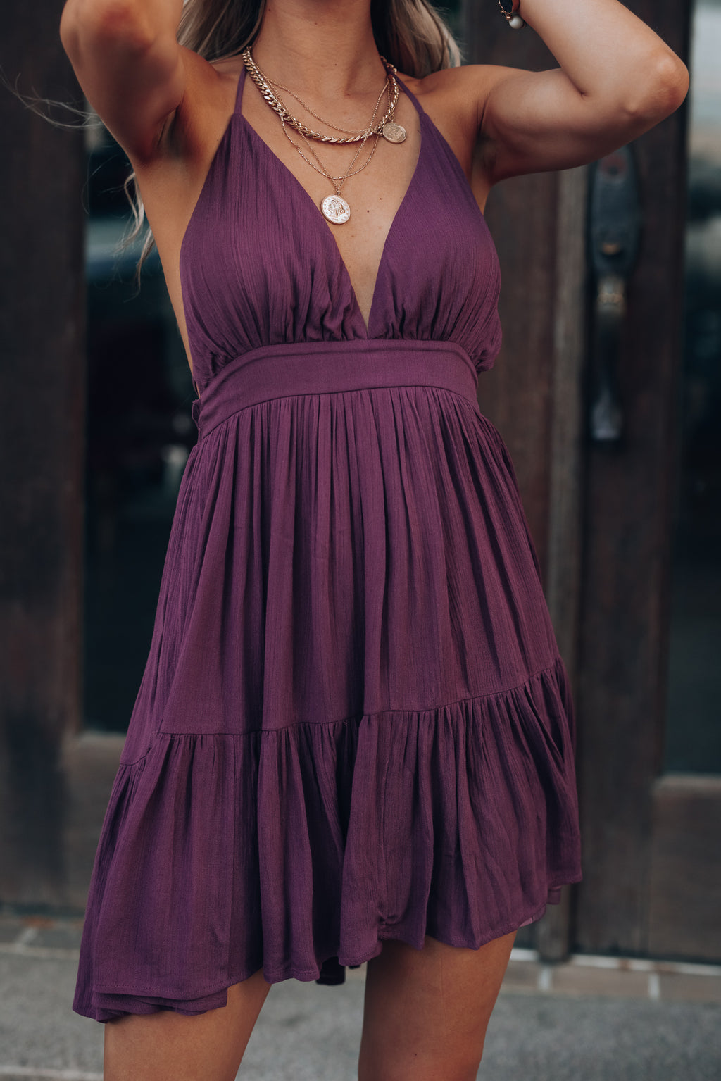 PRE-ORDER Ryan Halter Mini Dress (Plum) Ships Mid June