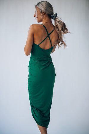 Grecian Ruched Dress (Forest) PRE-ORDER Ships Late May