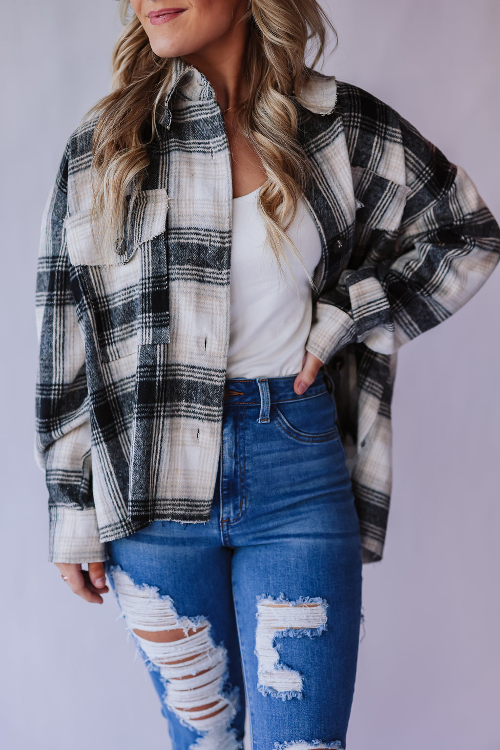 Chill Out Plaid Shacket (Black)