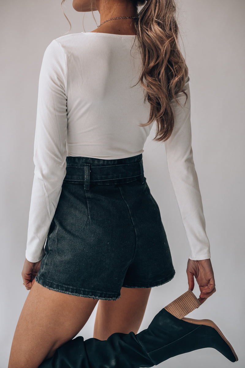 Buckle Up High Waist Shorts