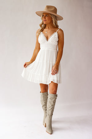 Bren Lace Mini Dress (White)
