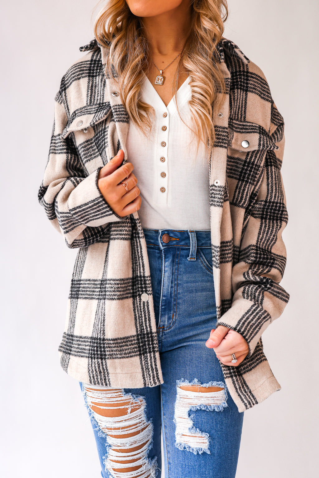 With Love Plaid Shacket (Tan)
