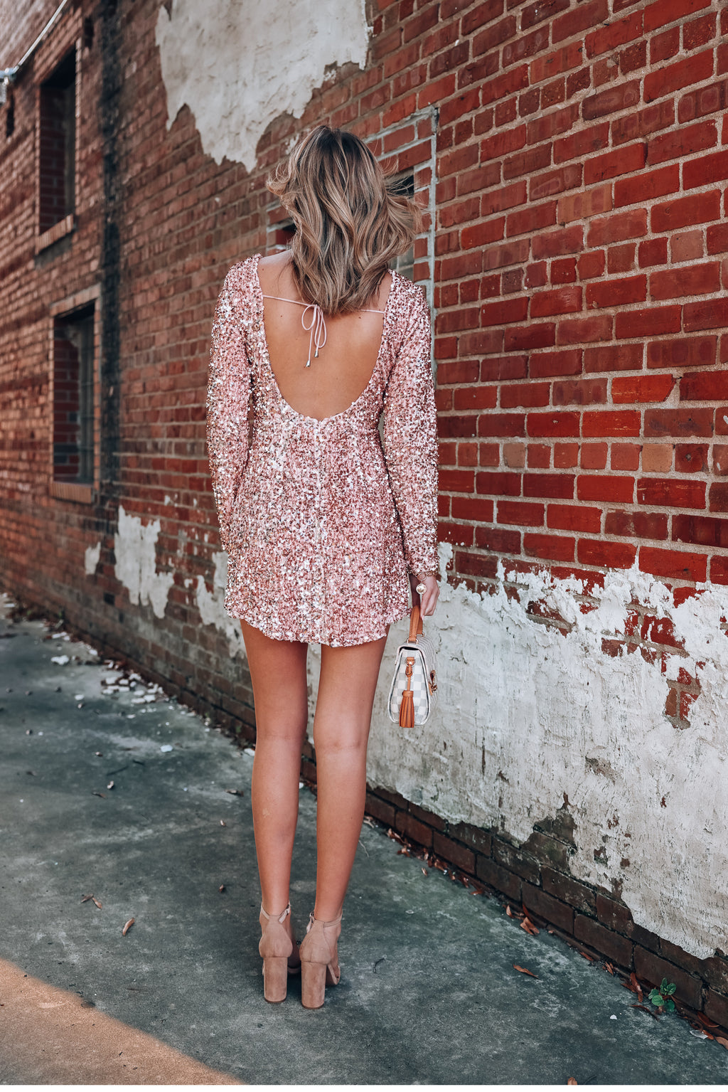 Countdown Sequin Mini Dress (Blush)
