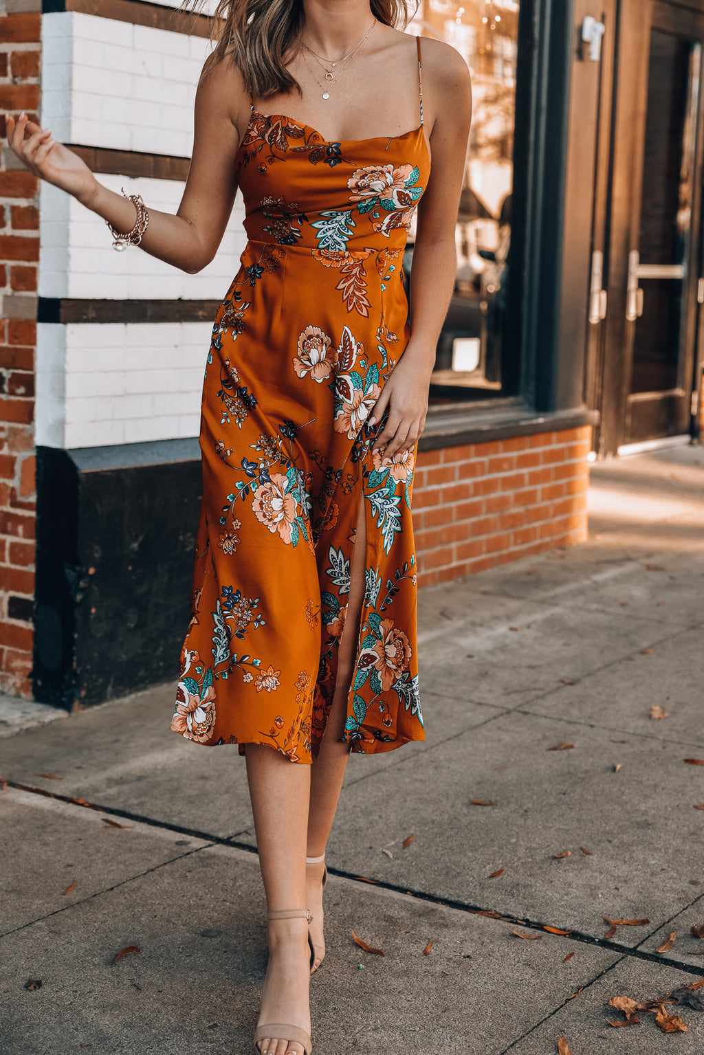 Stolen Hearts Midi Dress (Tan)