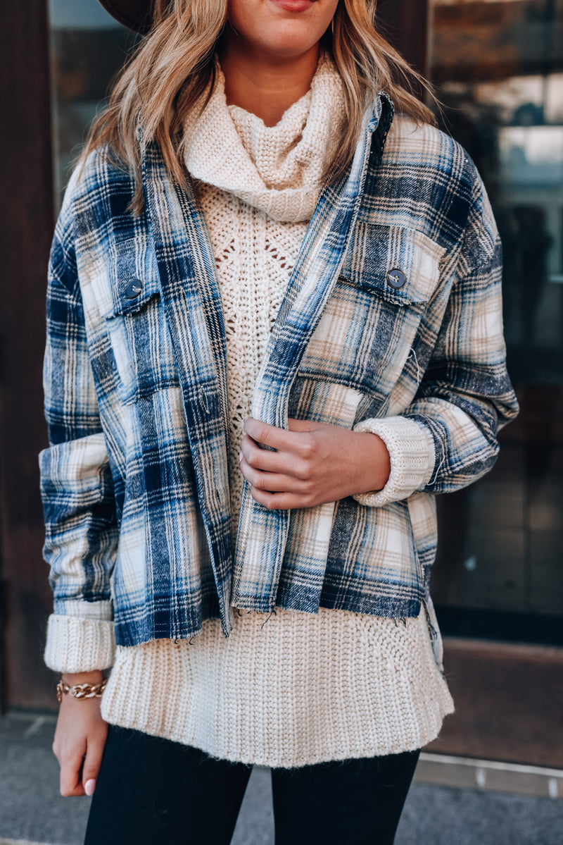 Chill Out Plaid Shacket (Navy)