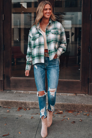 Chill Out Plaid Shacket (Green)