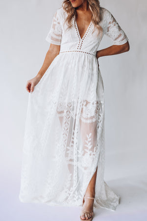 Wildflower Lace Romper Dress (Ivory)