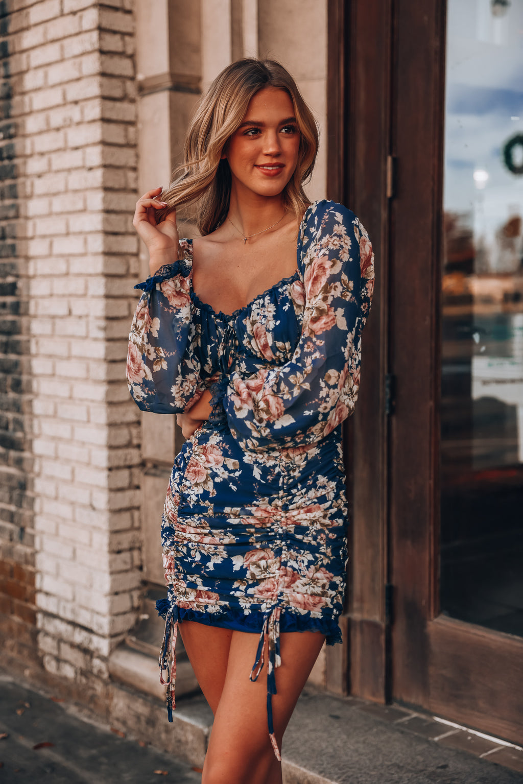 Zella Floral Ruched Mini Dress (Navy)