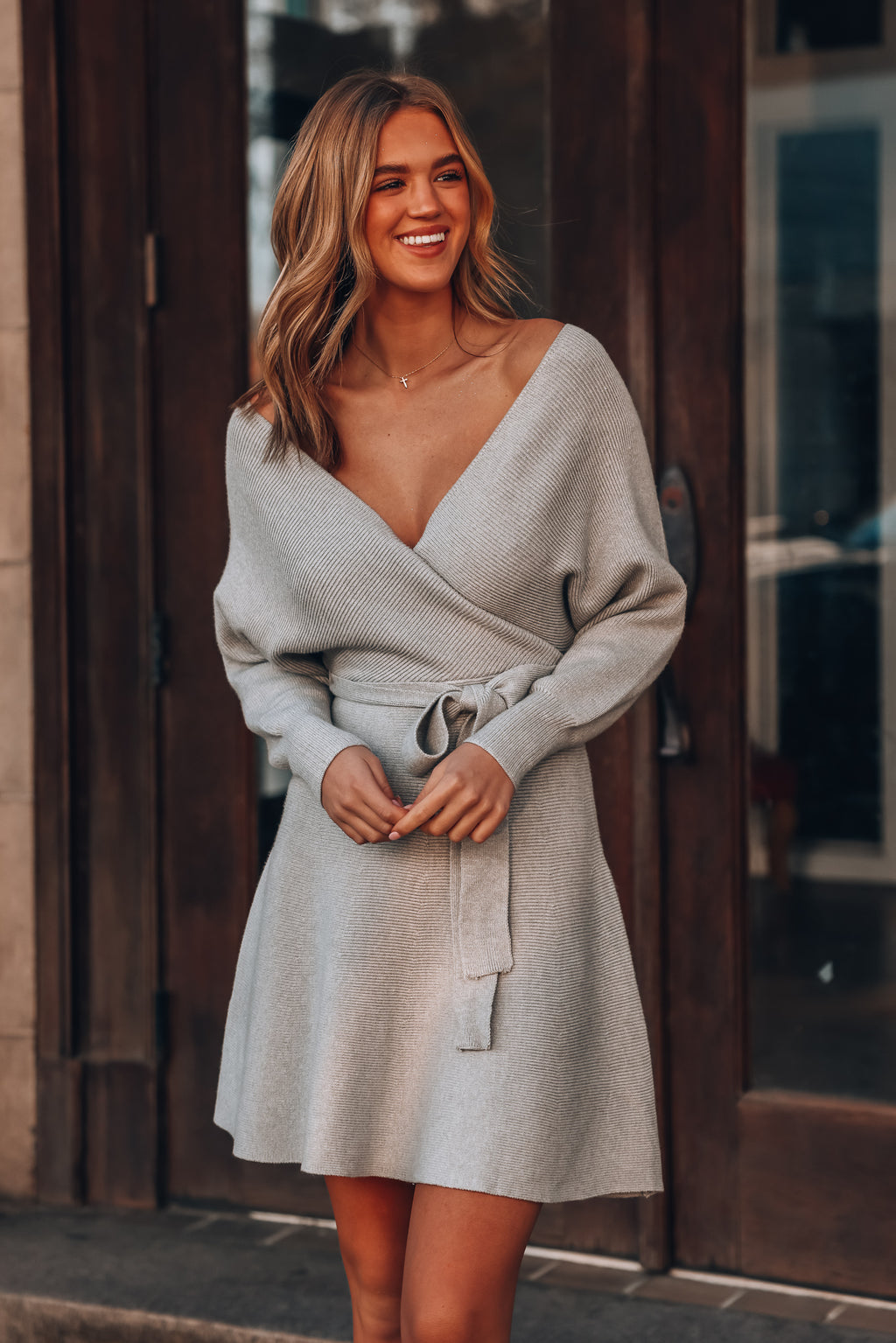 Carson Sweater Dress (H. Grey)