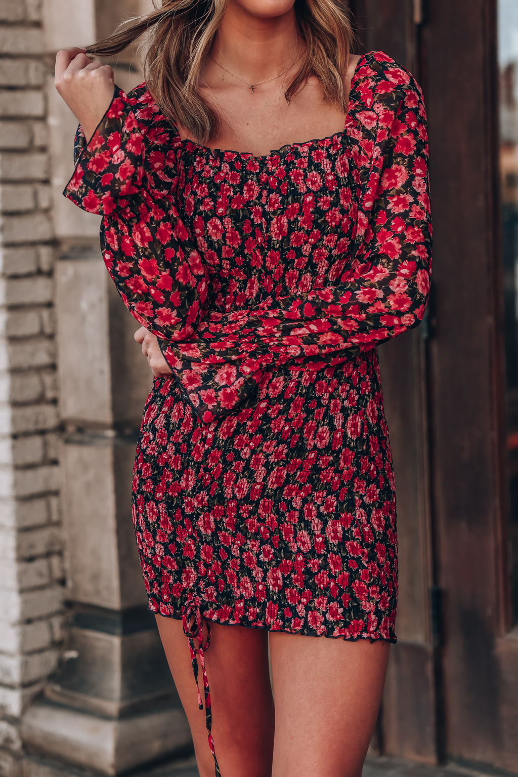 Floral Dreams Ruched Mini Dress