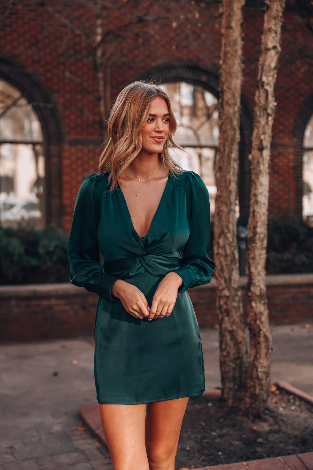 Gifted Satin Mini Dress (Forest Green)