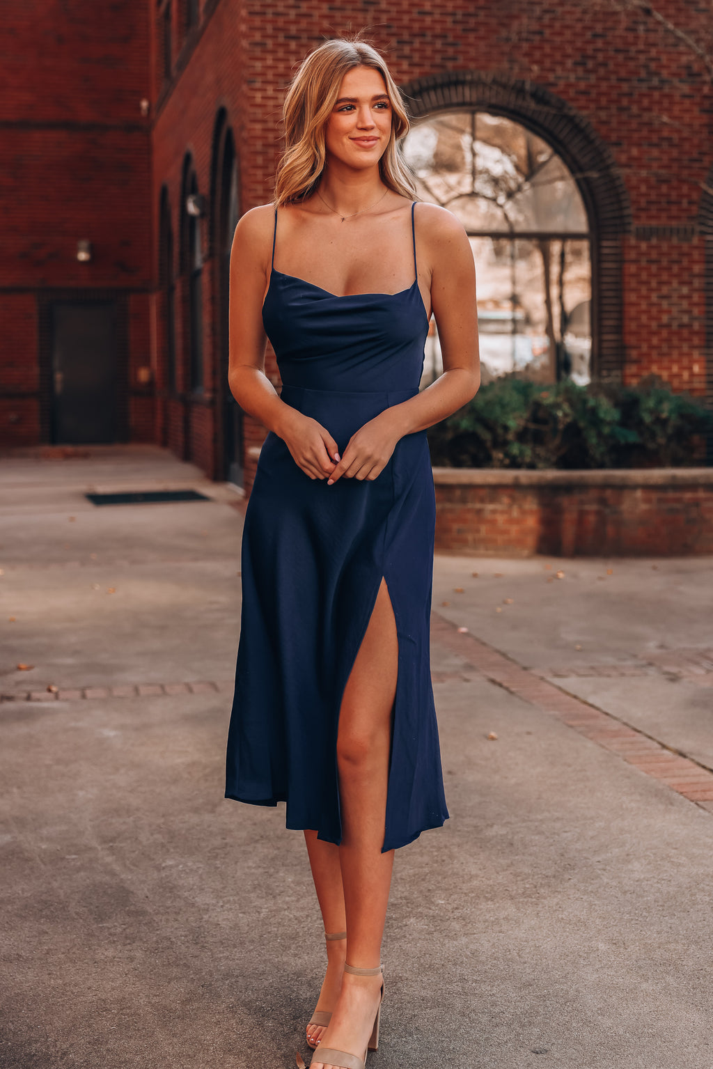 Logan Satin Midi Dress (Navy)