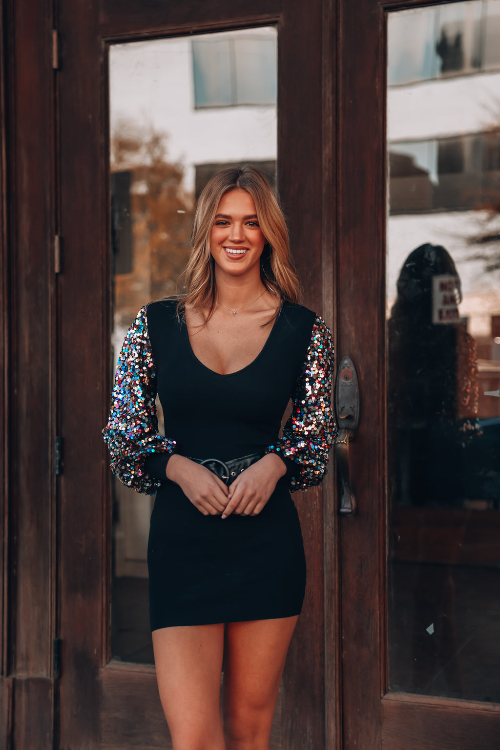 Get Festive Sequin Sweater Dress