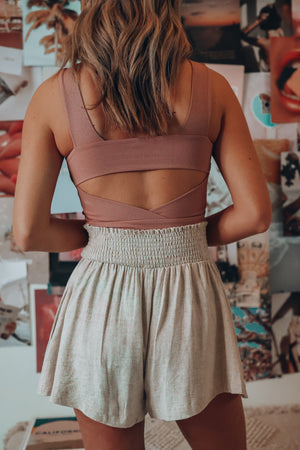 Rebel Ribbed Crop Top (Dusty Rose)