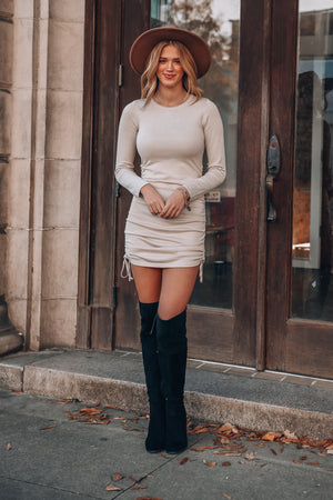 Julianna Cinch Mini Dress (Taupe)