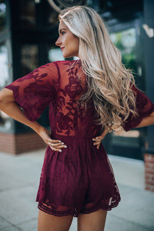 Artemis Lace Romper (Wine) PRE-ORDER Ships Early June