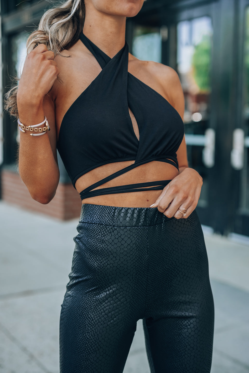 Molly Wrap Halter Top (Black)