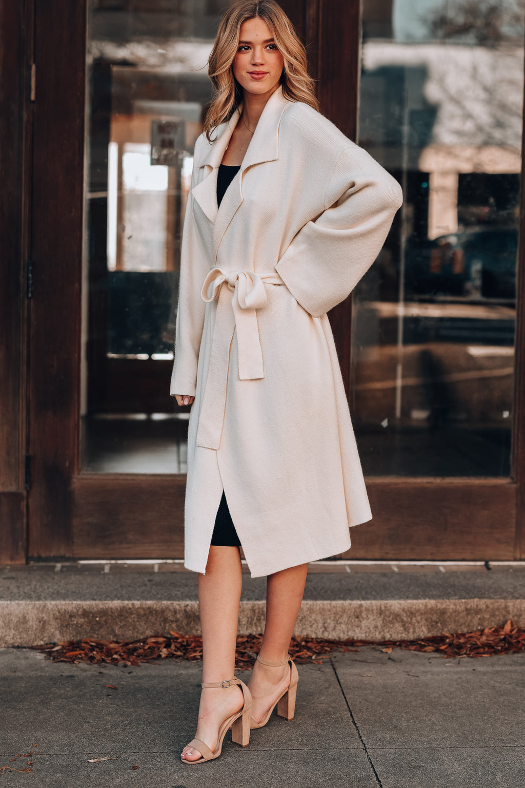Effortless Knitted Trench Coat (Cream)