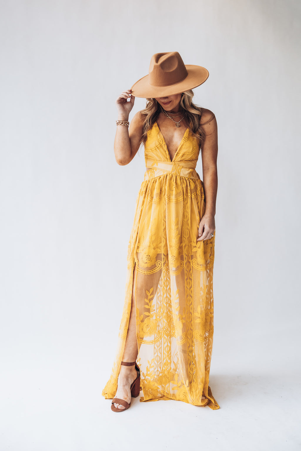 Bali Lace Maxi Dress (Mustard)