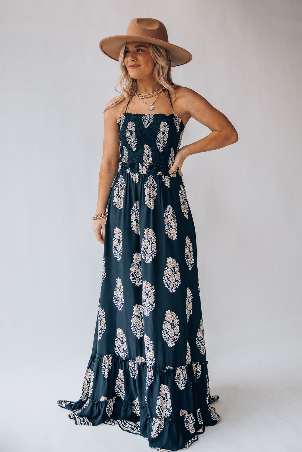 Alexa Smocked Maxi Dress (Navy)
