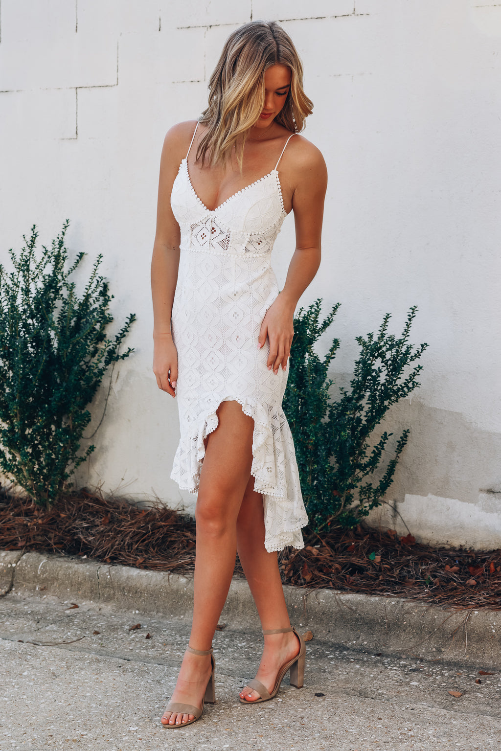 Bold Love Lace Dress (White)