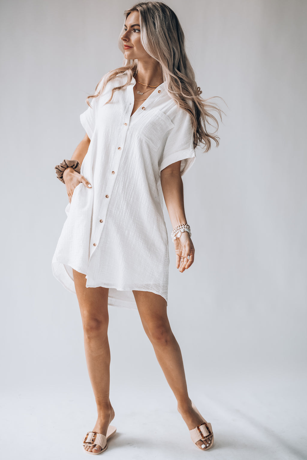 Athens Button Down Dress (Ivory)