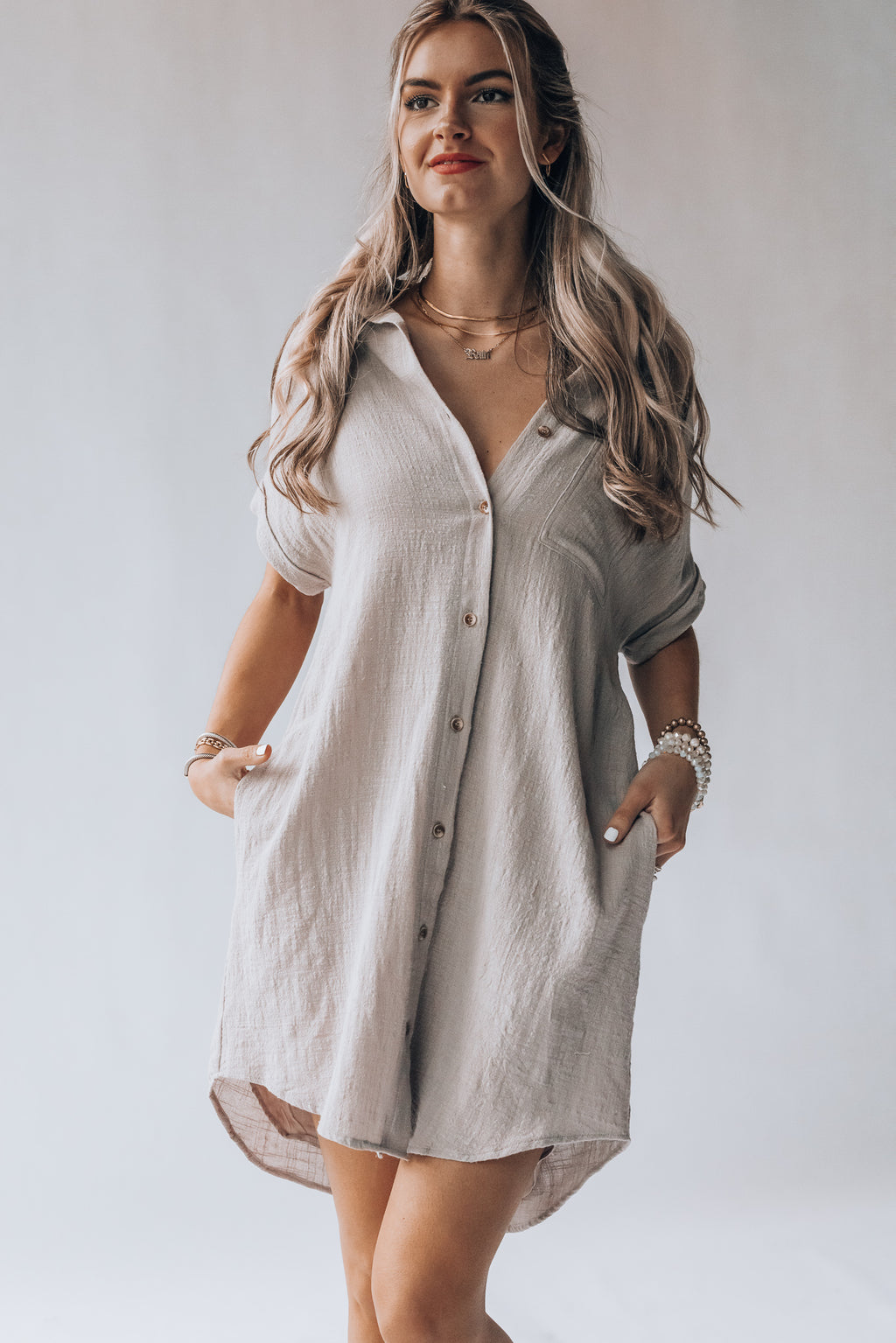 Athens Button Down Dress (Taupe)