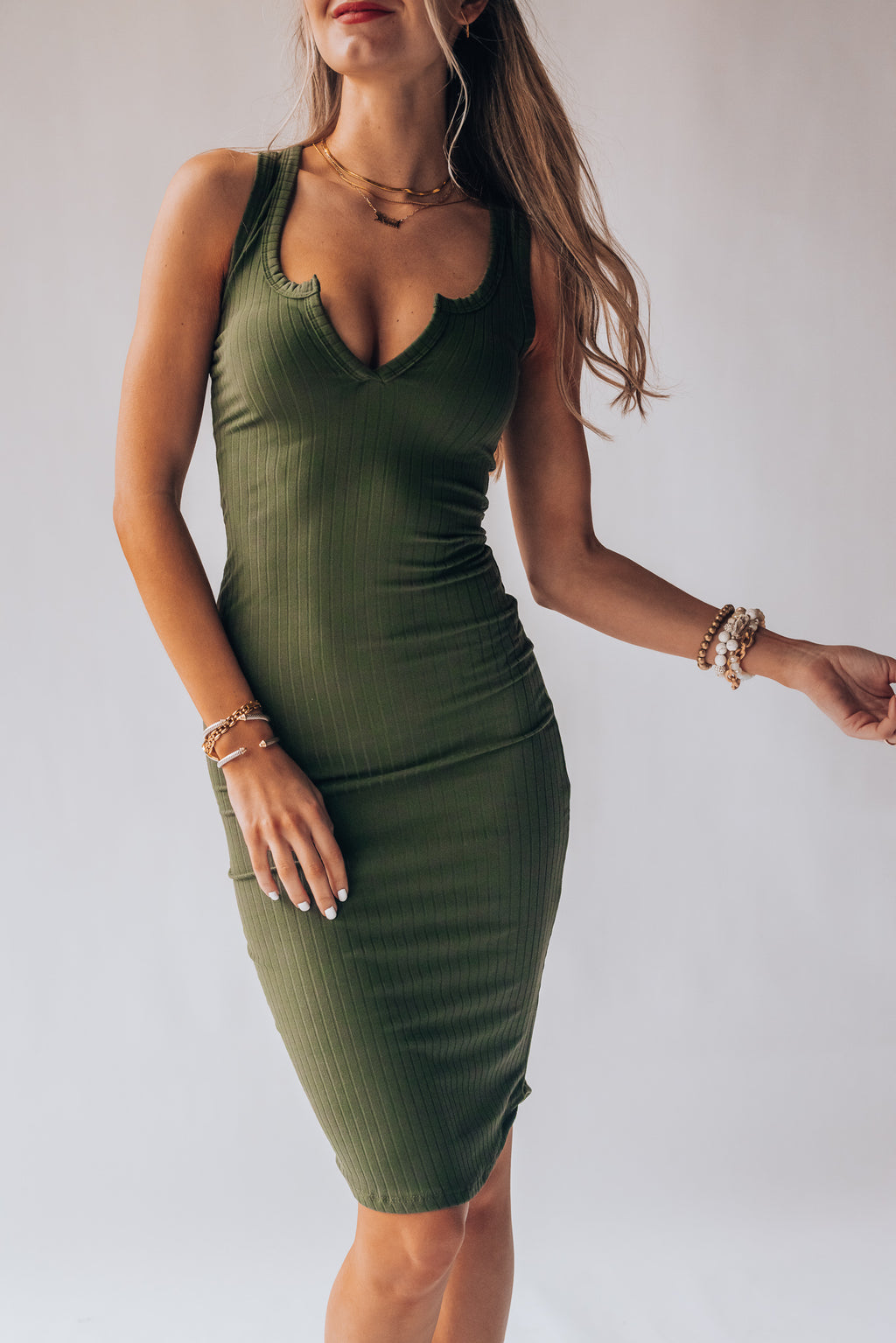 Saturday Night Bodycon Dress (Olive)