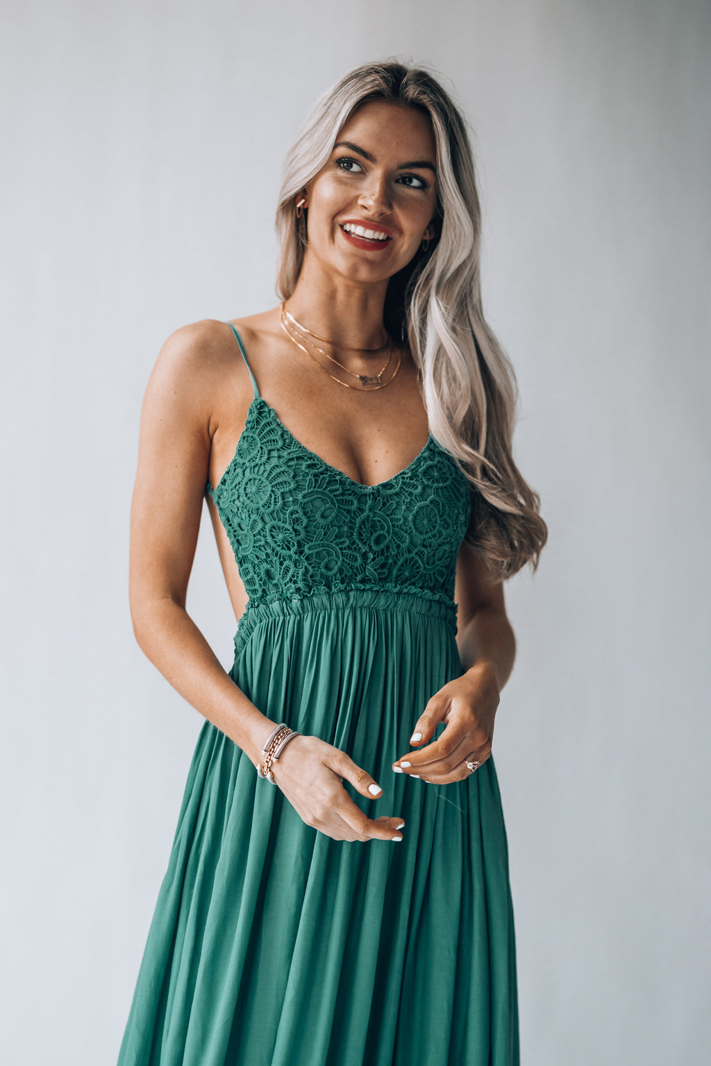 Byron Bay Lace Maxi Dress (Emerald)