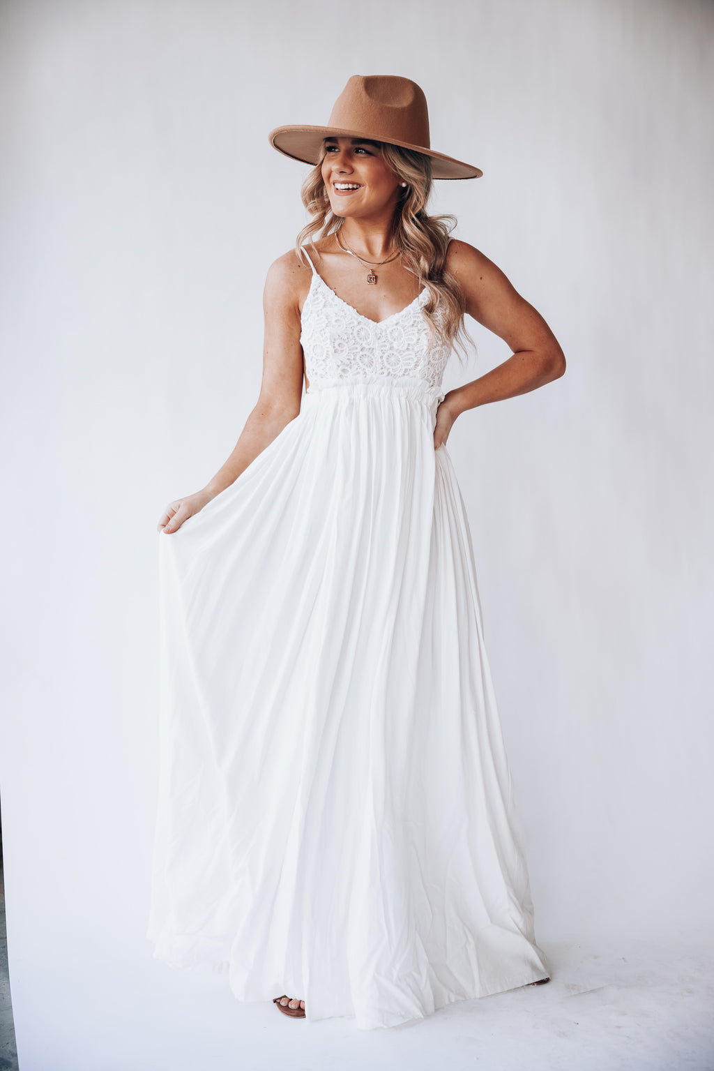 Byron Bay Lace Maxi Dress (Ivory)