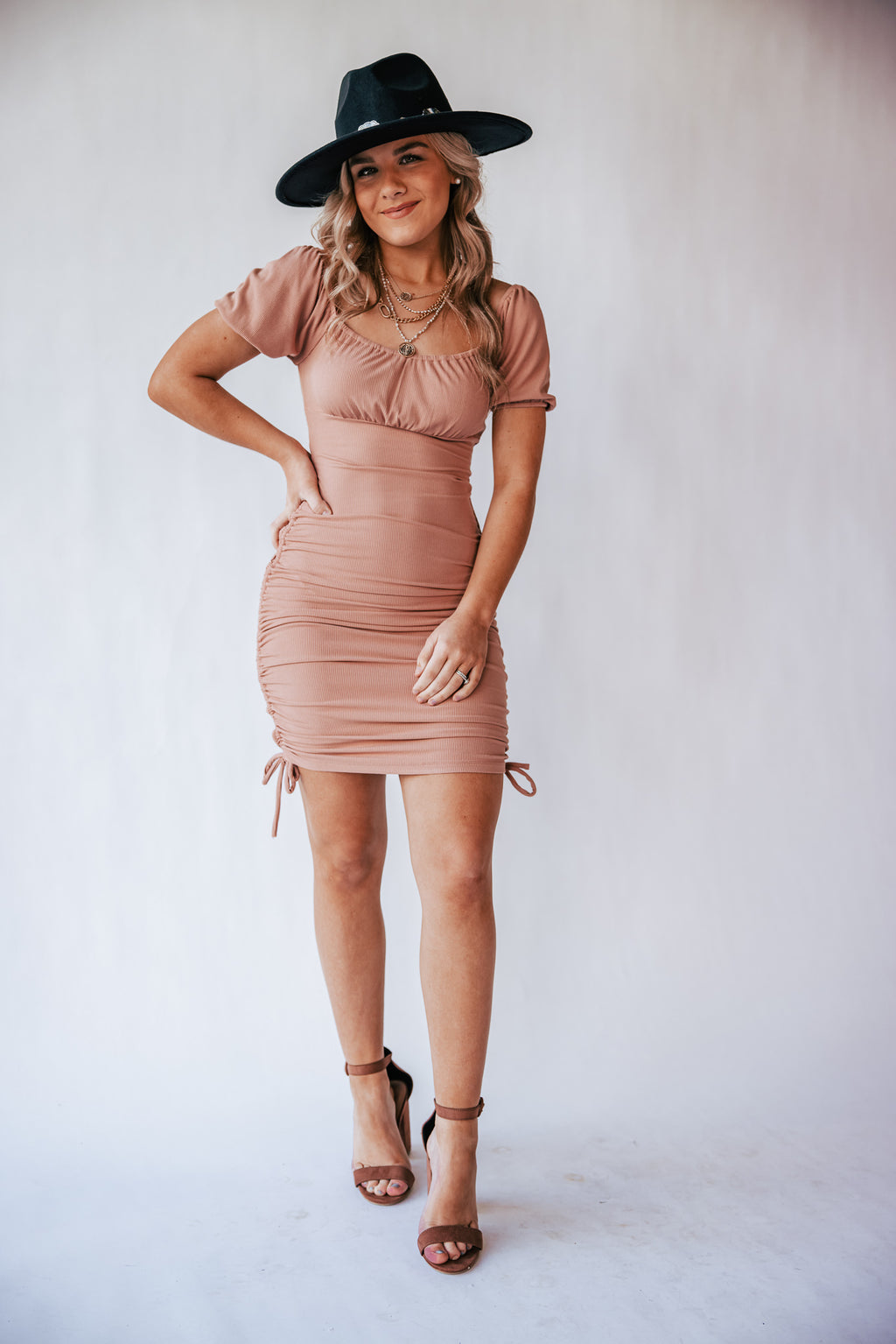 What A Feeling Cinch Mini Dress (Rose)