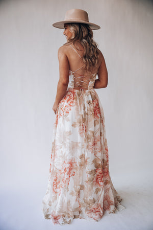 Melody Floral Maxi Dress (White/Pink)