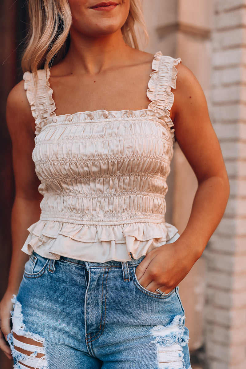 Not Over You Smocked Crop Top