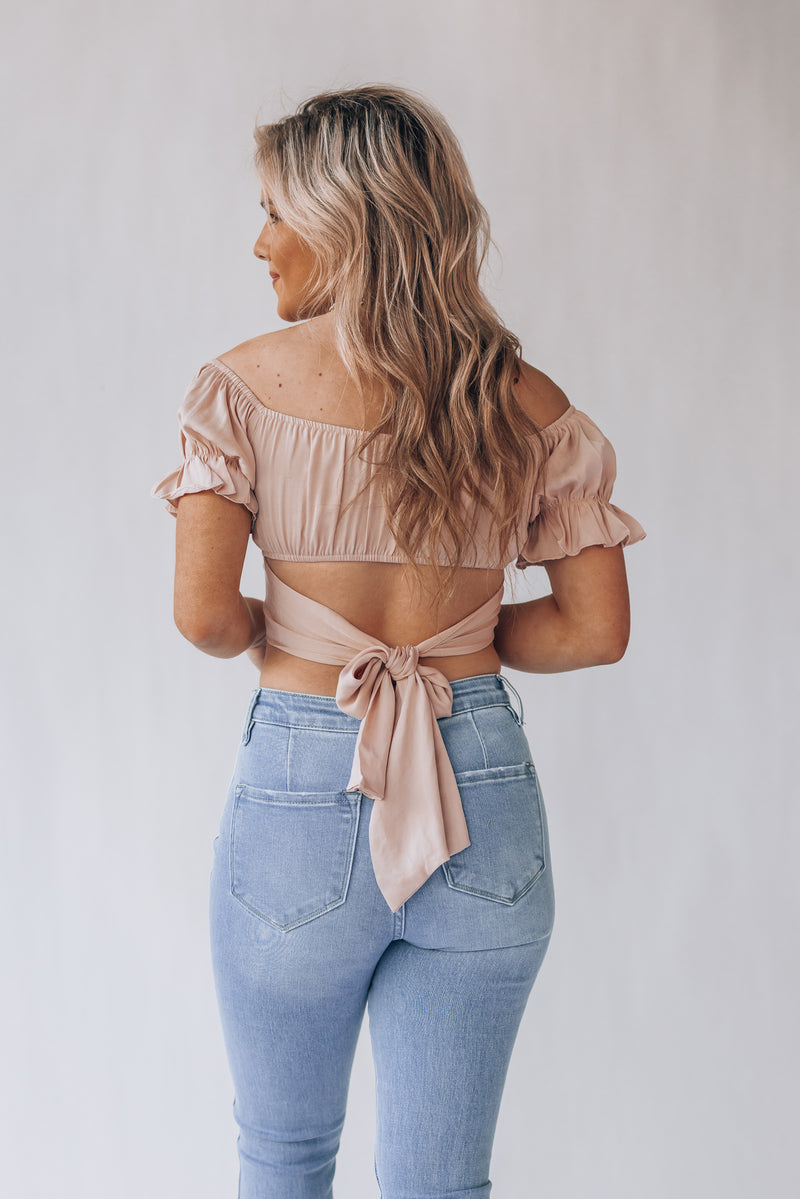 Havana Satin Crop Top (Tan)