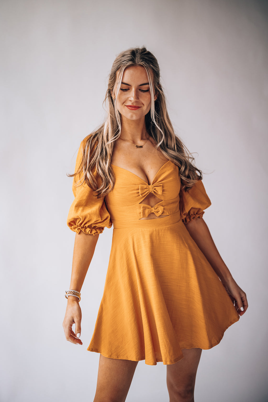 So Sweet Bow Mini Dress (Sunset)